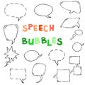 Set of comic speech bubbles. Isolated. hand drawn. Vector. Black Royalty Free Stock Photo