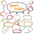 Vector set of speech bubbles. Isolated. outline. hand drawn. Col Royalty Free Stock Photo