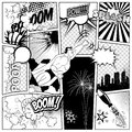 Set of comics speech and explosion bubbles on a book page background. Super hero, rocket, city silhouette firework