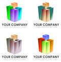 Set of company signs illustrated colorful or logos with copy space isolated on white background Royalty Free Stock Photos