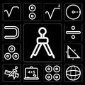 Set of Compass mathematics tool for drawing circles, Sphere, Proportion, Blackboard with basic calculations, and ruler mathematics Royalty Free Stock Photo