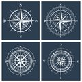 Set of compass roses. Vector illustration. Royalty Free Stock Photo