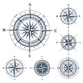 Set of compass roses  on white Royalty Free Stock Photo
