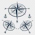 Set of compass roses or wind roses Royalty Free Stock Photo