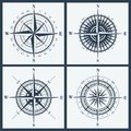 Set of compass roses or windroses Royalty Free Stock Photo