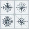 Set of compass roses (windroses) . Royalty Free Stock Photo