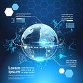Set Of Computer Futuristic Infographic Elements World Globe Tech Abstract Background Template Charts And Graph, Banner Royalty Free Stock Photo