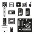Set computer hardware icons vector illustration Royalty Free Stock Image