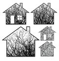 Set conceptual ecological home vector designs Royalty Free Stock Photography