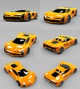Set conceptual high-speed orange sports car. Gray uniform background. Glare and softer shadows. 3d rendering. Royalty Free Stock Photo