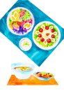 Set of consomme,scallop soup in a saucepan,salad with eggs,seafood and red caviar. Watercolor illustration isolated on white