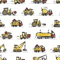 Set of construction equipment seamless pattern design vector illustration Royalty Free Stock Photography