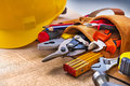 Set of construction tools in toolbelt close up on Royalty Free Stock Photo