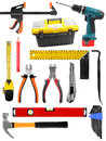 Set with construction work tools isolated on white Royalty Free Stock Photo