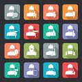 Set of construction worker flat style icons Royalty Free Stock Photo