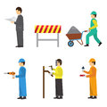 Set of construction workers for info graphics flat vector icons with color design Royalty Free Stock Photography