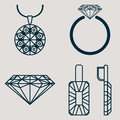 Set contains four icons for jewelry goods ring, earrings, necklace and classic diamond Royalty Free Stock Photo