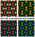 Set of 4 contemporary seamless patterns with colorful decorative ornament on black background