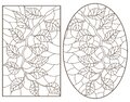 Contour set with  illustrations of stained glass Windows with tree branches, oval and rectangular images, dark outlines on a white Royalty Free Stock Photo