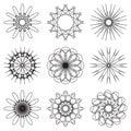 Set of contour spirographic symbols. vector illustration