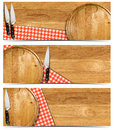 Set of cooking banners with round cutting board red checked tablecloth on wooden table and kitchen knife isolated on white Royalty Free Stock Photos