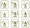 Set of cooking on campfire icons