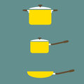 Set of cooking pot and pan flat design illustration Royalty Free Stock Photo