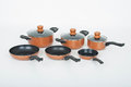 Set of cooking pots on white background Royalty Free Stock Photo