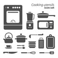 Set of cooking utensils vector symbols on white background Stock Photos