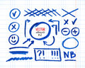 Set of correction and highlight elements part circles arrows cross signs etc hand drawn with marker pen vector illustration Royalty Free Stock Images