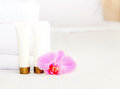 Set of cosmetic bottles on a white background with space for text Stock Image