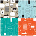 Set of cosmetics seamless pattern Stock Photos