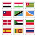 A set of countries flags on metal texture plates national syria tajikistan togo taiwan tanzania tierra del fuego sovereign Stock Photography
