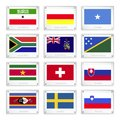 Set of countries flags on metal texture plates somaliland south ossetia somalia south africa south georgia solomon islands Stock Image