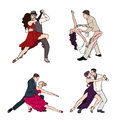 Set of a couple dancing argentine tango. Hand drawn colorful illustration.