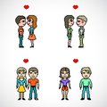 Set of couples of people pixel art with heart illustration Stock Photo