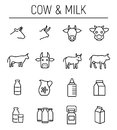 Set of cow and milk icons in modern thin line style. Royalty Free Stock Photo