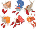 Set of crabs cartoon various colour Royalty Free Stock Image