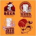 Set craft beer and vikings logo - vector illustration