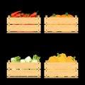 Set of crates with veggies