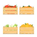 Set of crates with veggies