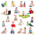 Set of crawling babies or toddlers with toys Royalty Free Stock Photo
