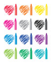 Set of crayons and heart drawings, vector
