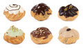 Set of cream pastry puffs  isolated on white Royalty Free Stock Photo