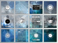 Set of 12 creative cards, square brochure template design. Abstract blue polygonal background, colorful backdrop, modern Royalty Free Stock Photo