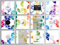 Set of 12 creative cards, square brochure template design. Abstract colorful business background, modern stylish Royalty Free Stock Photo