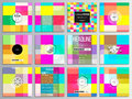 Set of 12 creative cards, square brochure template design. Abstract colorful business background, modern stylish vector Royalty Free Stock Photo