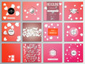 Set of creative cards square brochure template design white paper hearts red vector background valentines day decoration Stock Photography