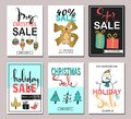 Set of creative sale holiday website banner templates. Christmas and New Year hand drawn illustrations for social media banners, p