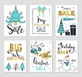 Set of creative sale holiday website banner templates. Christmas and New Year illustrations for social media banners, posters, ema
